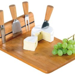 Excellent Houseware Natural Wooden Bamboo Magnetic Cheese Board Chopping Slicing Knife Set 978227