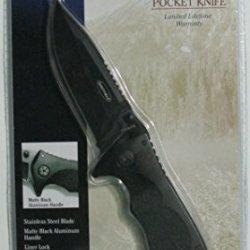Sheffield Matte Black Folding Pocket Knife With Liner Lock And Belt Clip