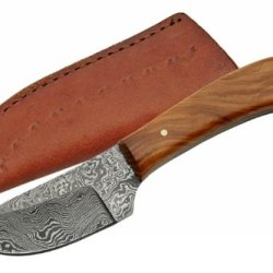 Szco Supplies Dm-1080Ow Damascus Skinning Knife With Olive Wood Handle