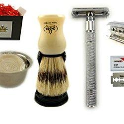 Classic Shave Set Kit With Butterfly Opening Safety Razor Omega Shaving Brush Shaving Soap Mug & Marvy Soap