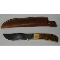 Queen Knives 4190 Skinner/Hunter Fixed Blade Knife With Torched Sambar Stag Handles
