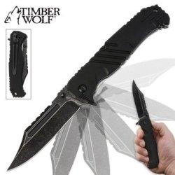 Timber Wolf Havoc Stonewash Assisted Opening Folding Pocket Knife Black