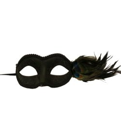 Black Venetian Half Feather Mask (Style Varies)