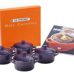 Le Creuset Set Of 4 Mini Cocottes With Cookbook, Cassis