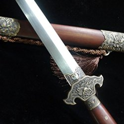 China Peony Sword/Pattern Steel Blade/Rosewood Scabbard/Brass Fitting/Full Tang