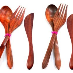Handmade Wooden Spoon Fork Butter Jam Knife Spreader Flatware Serving Set Of 2, Rosewood