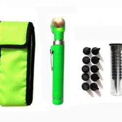 Zzzrt Pro Physician 2.5V Halogen Ligh Fiber Optic Otoscope Mini Pocket Medical Ent Diagnostic Set Green + Free Protective Cover
