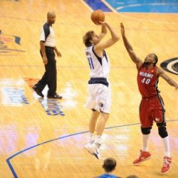 Miami Heat V Dallas Mavericks - Game Three, Dallas, Tx -June 5: Dirk Nowitzki And Udonis Haslem Photographic Poster Print By Noah Graham, 8X12