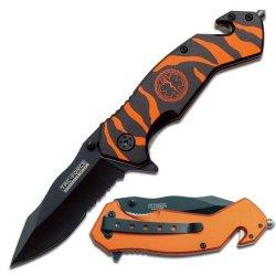 Emt Rescue Knife - Orange Tiger Pattern Handle