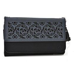 Doogee Dagger Dg550 Wallet & Wristlet Case || Black Deco With Credit Card Holder