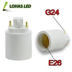 Lohas® 3-Pack G24 To E26 Adapter-Converts Pin Base Fixture(G24) Socket To Medium Screw(E26/E27) Socket-Adapter Converter-Suitable For Led Lights Bulbs,Halogen Cfl Lighting Lamp