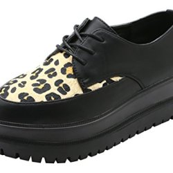 Guciheaven Women New Style Pantshoes Leopard Print Platform Shoes(7 B(M)Us, Black)