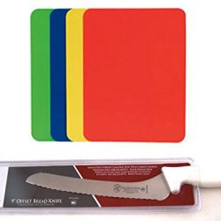 "Libertyware Gladiator Premium 9"" Offset Serrated Bread Knife & Set Of 4 Colored Cutting Mats"