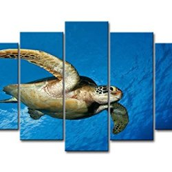 Blue 5 Panel Wall Art Painting Turtle Sea Background Pictures Prints On Canvas Animal The Picture Decor Oil For Home Modern Decoration Print