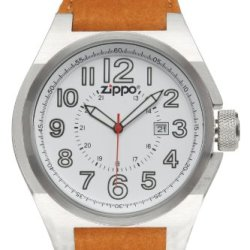 Zippo Casual And Simple Watch With White Dial And Brown Leather Strap