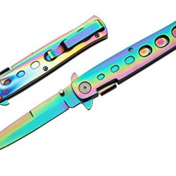 "Pk-980Rb Rainbow Milano W2L2Udmzvc Handle & Blade Godfather Pocket Knife Ajuiioptr 4567Fffg 567Ybghjk All Rainbow Handle & Blade All Steel Construction Qtfglw With Liner Lock 9"" Inches Overall Open Thumbstud On Vp7Dp The Blade Limited Life Time Warranty !"