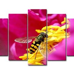 5 Piece Wall Art Painting Wasp Gather Honey In The Yellow Flower Pictures Prints On Canvas Animal The Picture Decor Oil For Home Modern Decoration Print For Bedroom