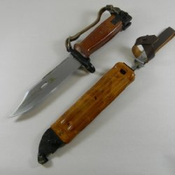 Bayonet Ak47 Ak74 Bulgarian Army Red Bakelite With Scabbard Used Good. Northridge International Inc.