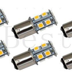 Best To Buy® (6-Pack) Ba15D 1076 1142 High Bright Car Led Bulb 13-5050Smd Dc 12V Warm White