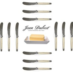 French Laguiole Dubost - Pearl - 12 Butter Knives - Stainless Steel Lemmet (Genuine Quality Family Dinner White Color Table Flatware/Cutlery Spreaders Setting For 12 People - Each Knife: 6 Inches - Manufactured In France - With Certificate Of Authenticity