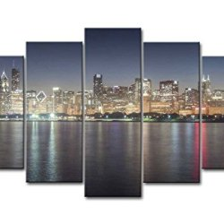 5 Piece Wall Art Painting Chicago Skyline Pictures Prints On Canvas City The Picture Decor Oil For Home Modern Decoration Print For Girls Bedroom