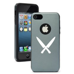 Apple Iphone 5C Silver Gray Cd503 Aluminum & Silicone Case Cover Chef Knives