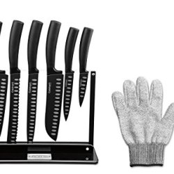 Cuisinart C77Ns-7P Nonstick Edge Collection Cutlery Set With Acrylic Stand, Includes Free Cuisinart Cut-Resistant Glove