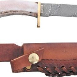 """Silver Stag Sv60 Knives Fixed Knife Damascus Stag Handle Straight Back 10"""""""