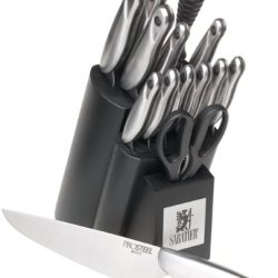 Sabatier Prosteel 15-Piece High Carbon Stainless Steel Knife Set With Block