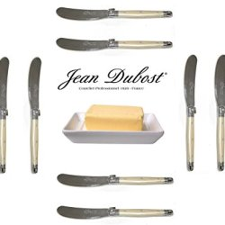French Laguiole Dubost - Pearl - 10 Butter Knives - Stainless Steel Lemmet (Genuine Quality Family Dinner White Color Table Flatware/Cutlery Spreaders Setting For 10 People - Each Knife: 6 Inches - Manufactured In France - With Certificate Of Authenticity