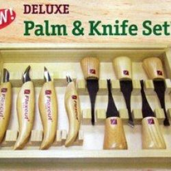 Deluxe Wood Carvers Palm Tool And Knife Set-Flexcut
