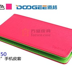 Everyday Better Life Faux Leather Up And Down Flip Cover Case For Doogee Dagger Dg550 Smartphone (Rose Red)