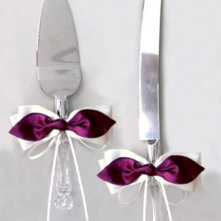 Burgundy Satin Bow Ivory Ribbon Cake Knife And Server Set For Wedding Or Ceremony