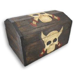 Wooden Skull & Daggers Treasure Chest Storage Box