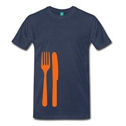 Spreadshirt Men'S Knife And Fork T-Shirt, Navy, Xl
