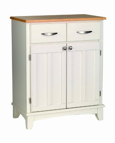 Image of Server Sideboard with Natural Wood Top in White Finish (VF_HY-5001-0021)