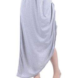 Anna-Kaci S/M Fit Grey Gathered Pick Up Side Ruching Asymmetrical Hem Skirt