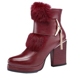 Guciheaven Winter New Style Rabbit Hair Rough Heels Short Boots(6 B(M)Us, Red)