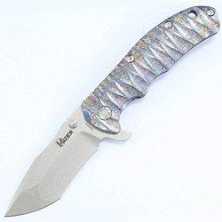 Kizer Knives Ki401T Flipper, Blue Titanium, Satin Tanto