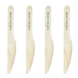 Dress My Cupcake Natural Wood Candy 500-Pack Buffet Knives Diy Kit, Made With Love, Leaf Green