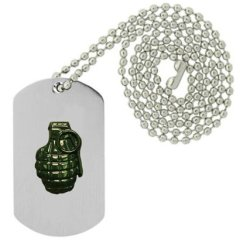 Military Emblem Dog Tag W/ Metal Chain Necklace - Military Vehicle & Weapons Pins - Military Weapon & Knife Pins - Pinapple Grenade