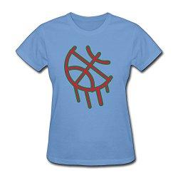 Womens Basketball Graffiti Organic Cotton T-Shirts Size S Color Sky