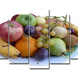5 Panel Wall Art Painting Guava Grapes Banana Apple Oranger Pearl Fruits Plate Prints On Canvas The Picture Food Pictures Oil For Home Modern Decoration Print Decor