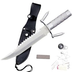 "Hk-217Ls. Spiked Rambo Style Survival Knife 14 1/4"" Overall 14 1/4"" Overall▪ Blade Length: 8 7/8""▪440 Stainless Steel Solid Metal Handle With Guard With Removable Spike Points At Guard. Comes With A Black Leather Sheath And Inside The Handle There Are Fis"