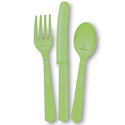 18 Count Assorted Cutlery Set, Lime Green