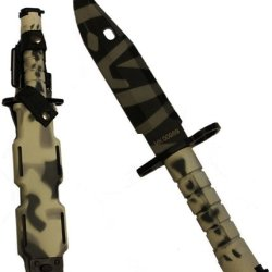 Ultimate Arms Gear Tactical Limited Edition Urban / Snow Camo Camouflage M9 M-9 Military Survival Tiger Stripe Tigerstripe Blade Bayonet Knife With Tactical Sheath Scabbard