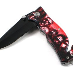 "Sharp Design! 3 1/2"" Blade Folding Knife.Black Handle, 440 Stainless Steel (Red)"