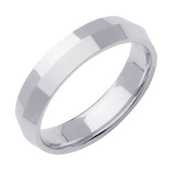 Comfort-Fit Knife Edge Wedding Band In Platinum (4Mm)