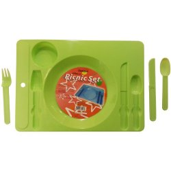 """2 Sets Of 4 Piece Reusable, Durable Plastic Picnic Plate Set, 2-Picnic Plate Tray With Cup Or Can Caddy, (14.25"""" X 10.25"""" - Green Color), 2-Knife, 2-Spoon, 2-Fork, Picnic Plate Set With Cup-Can-Caddy, Picnic Plate Caddy, Sturdy Picnic Plate Set Good For T"""