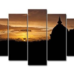 5 Panel Wall Art Painting Sunset Sun Roof Silhouette Paris Pictures Prints On Canvas City The Picture Decor Oil For Home Modern Decoration Print